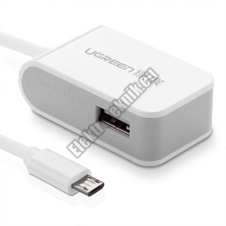 19007 2 portos OTG USB HUB, microUSB 2.0-vel, fehér