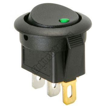 5430GR 1ák.3p.2áll.Billenő kapcsoló.12V/16A.Zöld LED világítással.