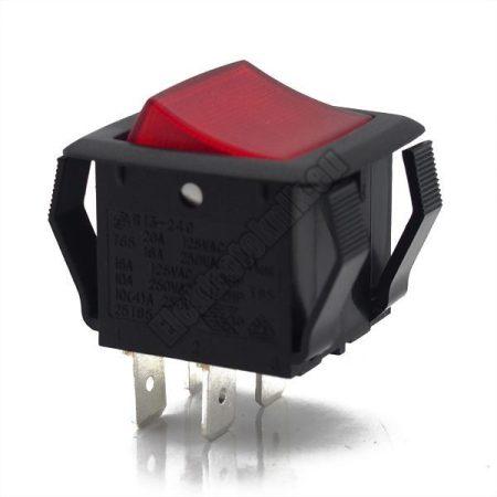 54906 2ák.4p.2áll.Világító billenő kapcsoló.250V/10A.Piros világítással.
