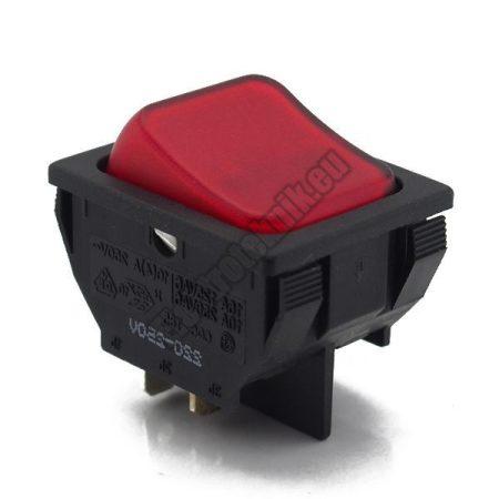 54911 2ák.4p.2áll.Világító billenő kapcsoló.250V/10A.Piros világítással.