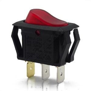 54916 1ák.3p.2áll.Világító billenő kapcsoló.250V/10A.Piros világítással.