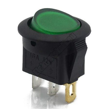 5551GR 1ák.3p.2áll.Világító billenő kapcsoló.12V/16A.Zöld világítással.
