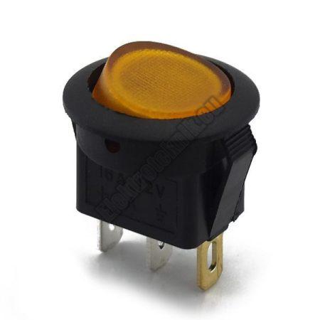 5551OR 1ák.3p.2áll.Világító billenő kapcsoló.12V/16A.Sárga világítással.