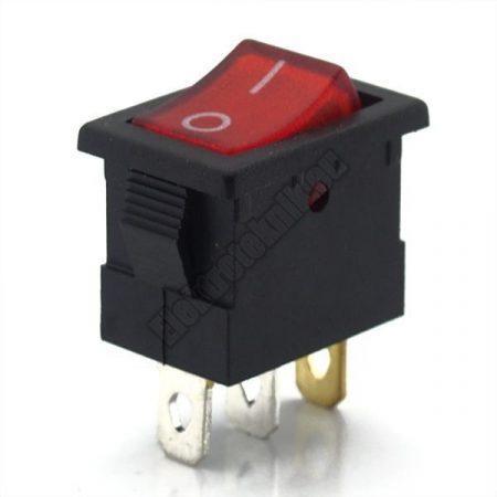 5564B 1ák.3p.2áll.Világító billenő kapcsoló.250V/6.5A.Piros világítással.
