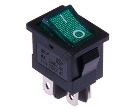 5566GR 2ák.4p.2áll.Világító billenő kapcsoló.250V/6A.Zöld világítással.