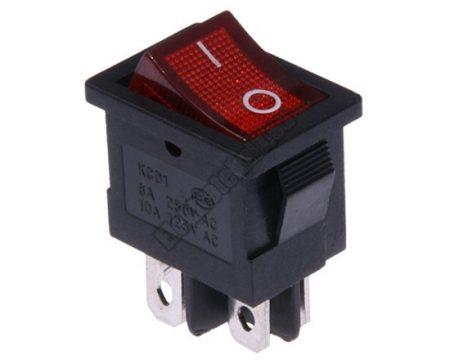 5566RD 2ák.4p.2áll.Világító billenő kapcsoló.250V/6A.Piros világítással.