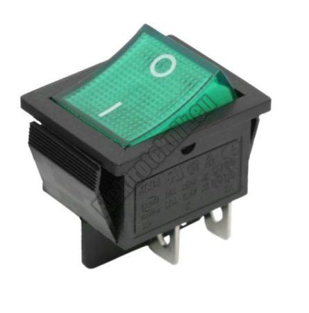 5587GR 2ák.4p.2áll.Világító billenő kapcsoló.250V/15A.Zöld világítással.