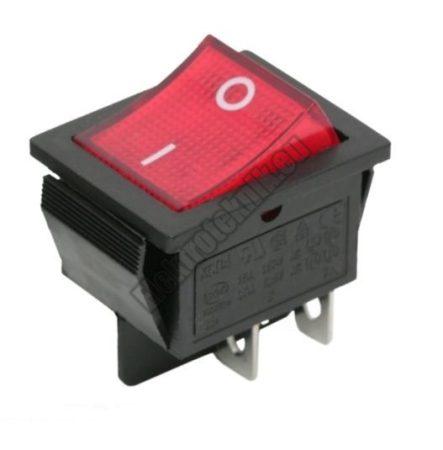 5587RD 2ák.4p.2áll.Világító billenő kapcsoló.250V/15A.Piros világítással.