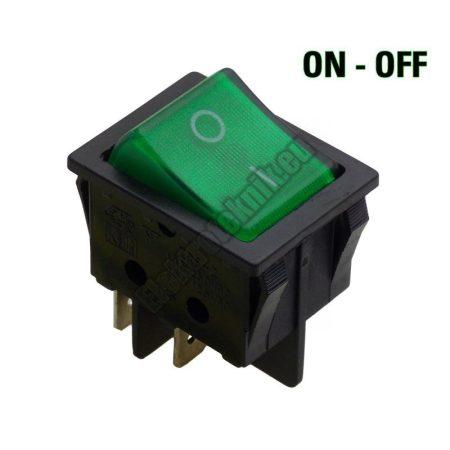 5588-C 2ák.4p.2áll.Világító billenő kapcsoló.250V/15A.Zöld világítással.