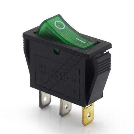 5591GR 1ák.3p.2áll.Világító billenő kapcsoló.250V/15A.Zöld világítással.