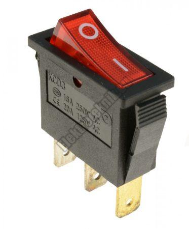 5591RD 1ák.3p.2áll.Világító billenő kapcsoló.250V/15A.Piros világítással.