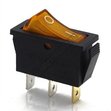 5594YE 1ák.3p.2áll.Világító billenő kapcsoló.12V/20A.Sárga világítással.