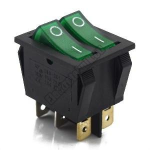 5599GR 2ák.6p.2áll.Dupla világító billenő kapcsoló.250V/15A.Zöld világítással.
