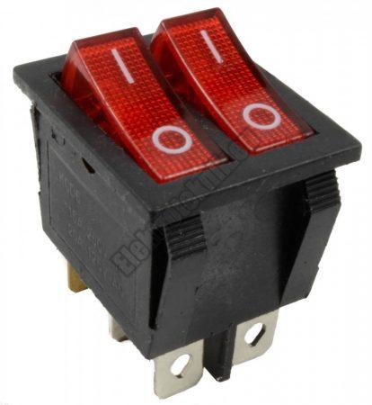 5599RD 2ák.6p.2áll.Dupla világító billenő kapcsoló.250V/15A.Piros világítással.