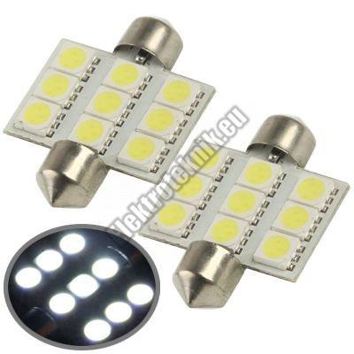 92871  Hideg fehér autós LED izzó pár C5W-36mm