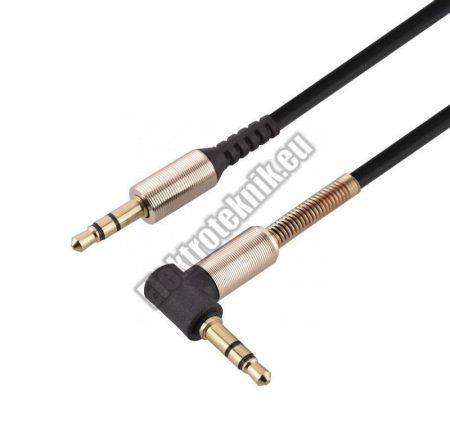 E008BK  jack kábel 3,5mm sztereó dugó-dugó 90fokos.