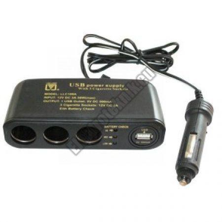 LLC109A 3-as autós tápfeszültség elosztó (USB csatl.)